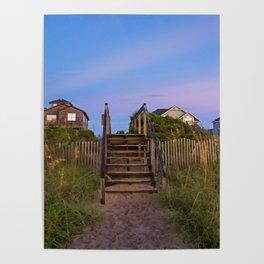 Beach Houses at Sunrise Poster