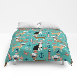 Chihuahua nautical sailor dog pet portraits dog costumes dog breed pattern custom gifts Comforters