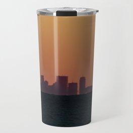 Boston skyline Silhouette at sunset from Gloucester Travel Mug