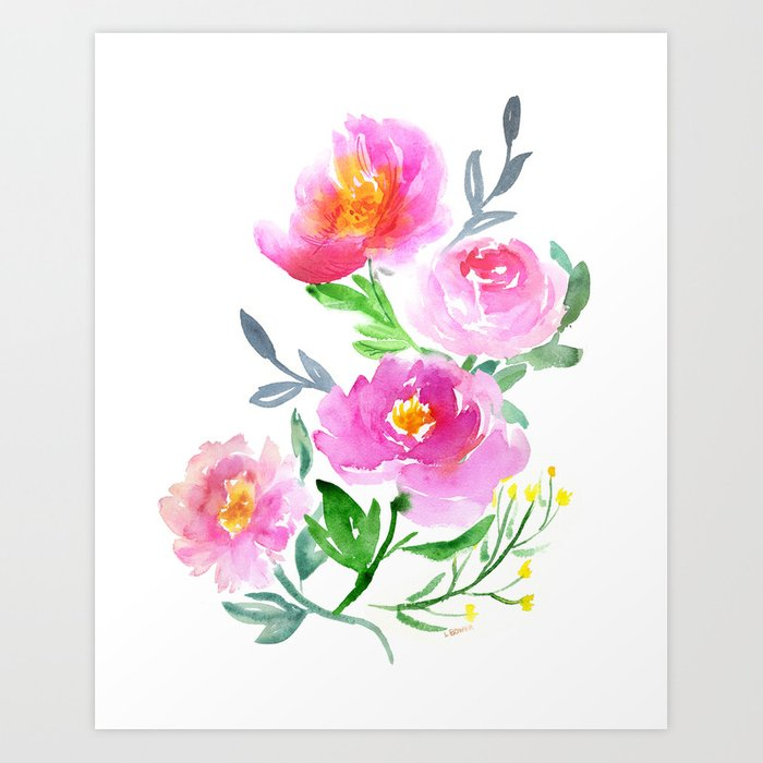Watercolor Flower Bouquet Art Print by lalabower   Society6