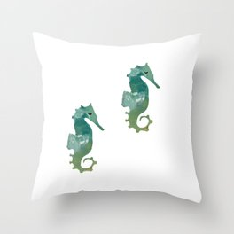 Abstract Acrylic Painting SEA HORSE Throw Pillow