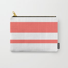 Mixed Horizontal Stripes - White and Pastel Red Carry-All Pouch