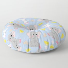 Cute Gray White Elephant Mouse Peanut Cheese Floor Pillow