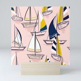 Sailing Boats on Pink Mini Art Print