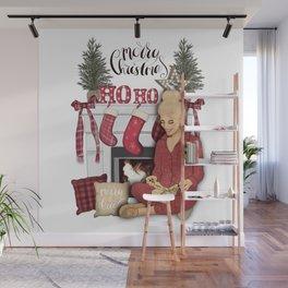 Merry Christmas Scene Wall Mural