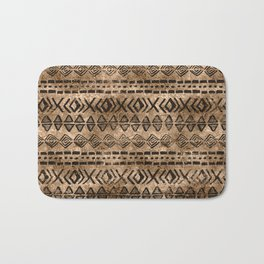 Ancient  Gold and Black Tribal Ethnic  Pattern Bath Mat