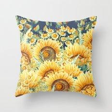 Vintage Garden (Sunflower Paradise) Throw Pillow