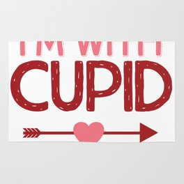 Cute and Funny I'm With Cupid Valentines Day Heart Design Rug