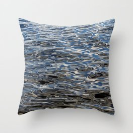 Water surface silver and blue Throw Pillow