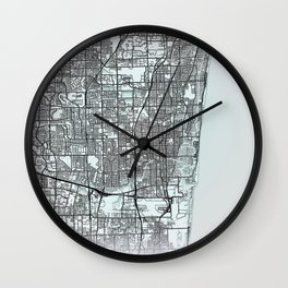 Fort Lauderdale, FL, USA, White, City, Map Wall Clock