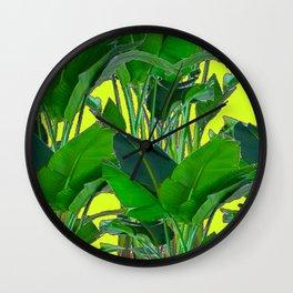 DECORATIVE TROPICAL GREEN FOLIAGE & CHARTREUSE ART Wall Clock