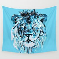 the lion king Wall Tapestries featuring Lion by Nuam