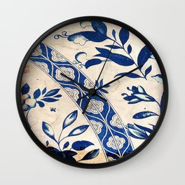 Blue Oriental Vintage Tile 04 Wall Clock