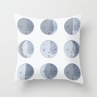 moon phases Throw Pillows featuring Moon Phases by Katie Boland