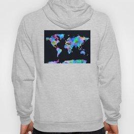 world map watercolor black Hoody