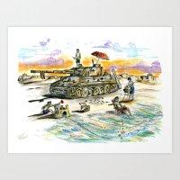 Normandy Sunset  Art Print