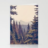 usa Stationery Cards featuring Mountains through the Trees by Kurt Rahn
