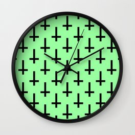 Black and Green Inverted Cross Pattern Wall Clock