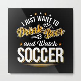 Football Beer Game Gift Metal Print
