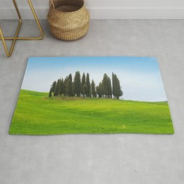Beautiful spring minimalistic landscape with Italian Cypress on the green hills in Tuscany countrysi Rug