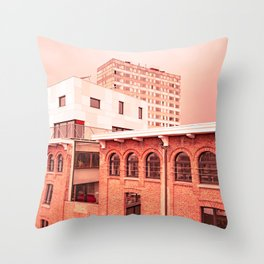 Red City Buildings Throw Pillow