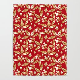 Christmas pattern.Gold sprigs on a bright red background. Poster