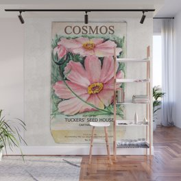 Cosmos Seed Packet Wall Mural