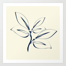 Classic Leaves navy and white Art Print