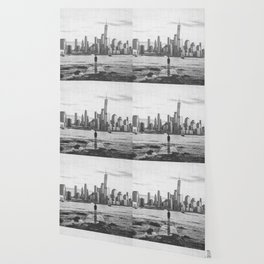 New York City Skyline Views and Vibes Black and White Wallpaper