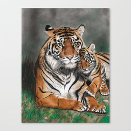 Tigress and Tiger Baby Canvas Print