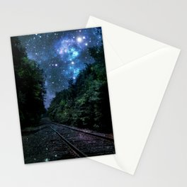 Train Tracks : Next Stop Anywhere Blue Side View Stationery Cards