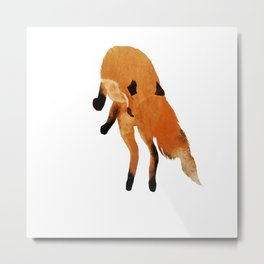 Jumping fox - white background  Metal Print