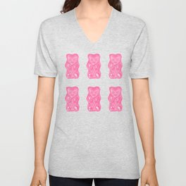 Pink Gummi Bears on Mint Background Pattern Unisex V-Neck