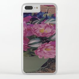 fabulous pink flowers Clear iPhone Case
