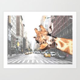 Selfie Giraffe in New York Art Print