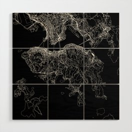 Hong Kong Black Map Wood Wall Art