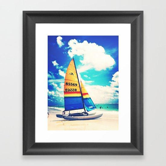 Siesta Key, FL - Sailboat Framed Art Print