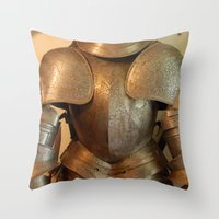 knight Throw Pillows featuring Knight by SlothgirlArt