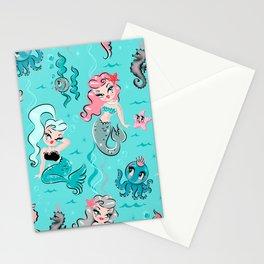 Babydoll Mermaids on Aqua Stationery Cards