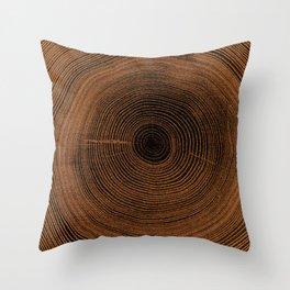 Old wooden oak tree cut surface Throw Pillow