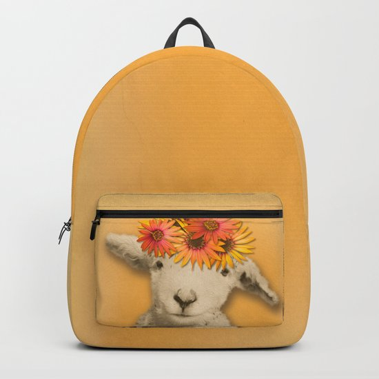 Daisies Sheep Girl Portrait, Mustard Yellow Texturized Backgroud Backpack