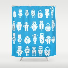 Robot Alphabets in Cyan Shower Curtain