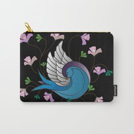 Sparrow on Black Carry-All Pouch