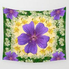 SPRING PURPLE GARDEN FLOWERS ART DESIGN Wall Tapestry