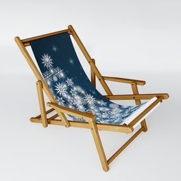 Blue Christmas Eve Snowflakes Winter Holiday Sling Chair