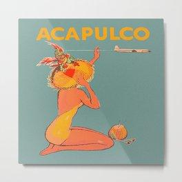 Acapulco, Mexico Retro Vintage Travel Poster Metal Print