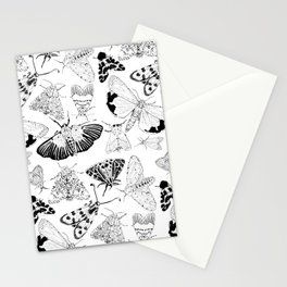 Moth Pattern Black and White Stationery Cards