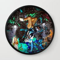 skateboard Wall Clocks featuring skateboard street by  Agostino Lo Coco