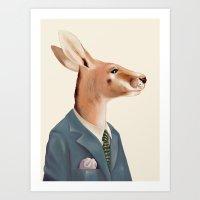 kangaroo Art Prints featuring Kangaroo by Animal Crew