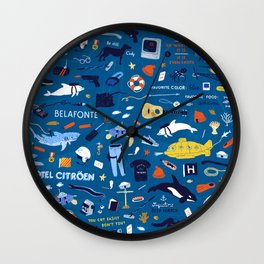 Life Aquatic Plot Pattern Wall Clock
